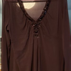 Sheer plumb with jeweled v neck long sleeved top